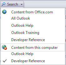 The search drop-down menu.