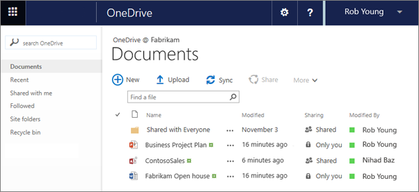 onedrive for business library in office 365