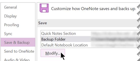 """لقطة شاشة لمربع الحوار """"خيارات OneNote"""" في OneNote 2016."""