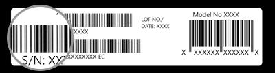 الرقم التسلسلي على عبوة جهاز Surface