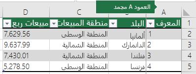 يتم تأمين العمود الأول عند النقر فوق «تجميد العمود العلوي»