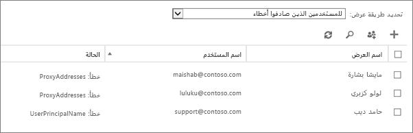 """المستخدمون الذين واجهوا أخطاء في صفحة """"المستخدمون النشطون"""""""