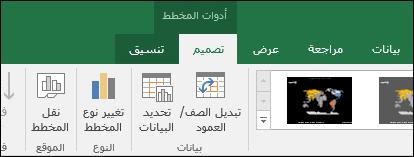أدوات شريط مخطط الخريطة في Excel