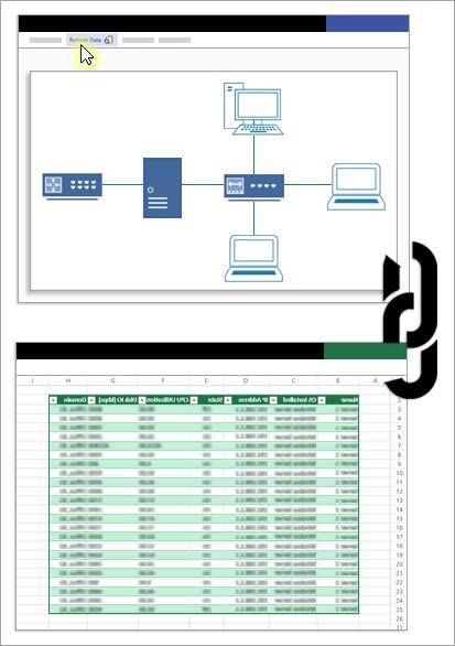 صورة تصوريّة تظهر الارتباط بين ملف Visio ومصدر البيانات الخاص به.