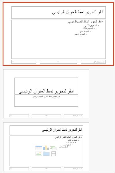 الشريحة الرئيسية لـ PowerPoint for Mac