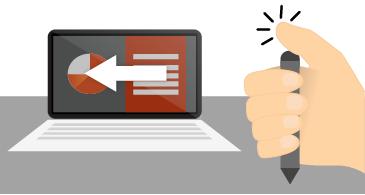 يد تحمل قلم وتضغط على الجزء العلوي منه بجانب شاشة كمبيوتر محمول تظهر عرض شرائح