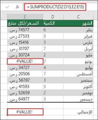 تظهر الصيغة الموجودة في الخلية E15 الخطأ #VALUE! نظراً لوجود الخطأ #VALUE! في العمود E.