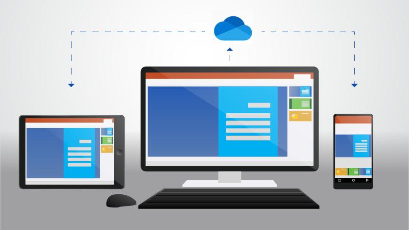 هاتف وكمبيوتر سطح مكتب وكمبيوتر لوحي يظهر مستند مُخزن في OneDrive