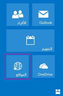 """تحديد اللوحة """"مواقع"""" لعرض قائمة بمواقع SharePoint"""