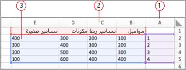 حقول البيانات في Excel