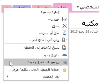 لقطة شاشة عن كيفية إنشاء مجموعة مقاطع جديدة في OneNote 2016.
