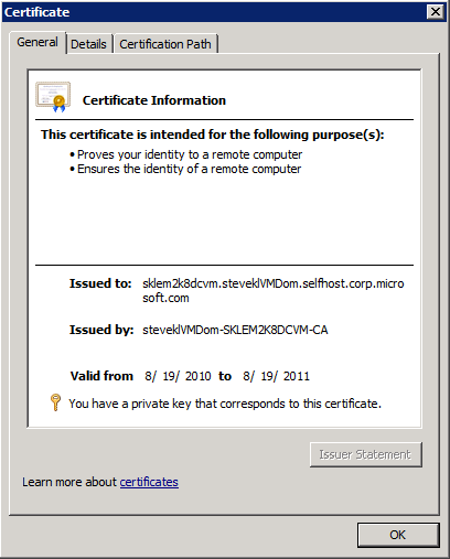 Example Server Certificate for the Domain Controller