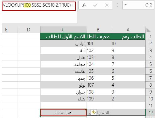 خطا n / A في الداله VLOOKUP عندما تكون قيمه البحث اصغر من القيمه الصغري في صفيف
