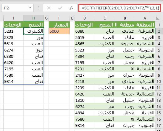 استخدم الدالة SORT والدالة FILTER معاً لفرز نطاق بترتيب تصاعدي، وحصره في قيم تتجاوز 5000.