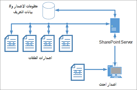 رسم تخطيطي ل# مساحه التخزين ميزه تعيين الاصدار