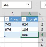 إضافة صف من خلال الكتابة في الصف الأول تحت جدول