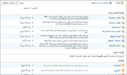 صفحه محتوي موقع SharePoint 2010 ل# الكل