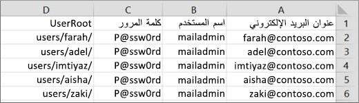 نموذج ملف ترحيل لـ Courier IMAP