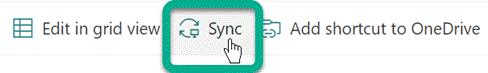 """الزر """"مزامنة"""" على شريط الأدوات في مكتبة SharePoint."""