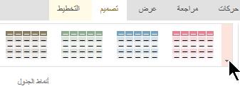 حدد السهم المزيد من القائمه المنسدله ل# فتح معرض انماط الجدول الكامل.