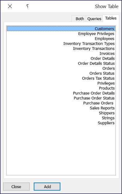 """مربع الحوار """"إظهار جدول"""" في Access يعرض أسماء جداول"""