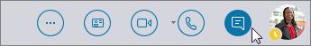 قائمة Skype for Business السريعة مع أيقونة المراسلة الفورية في وضع نشط.