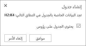 لقطة شاشة تعرض مربع الحوار «إنشاء جدول»، مع تحديد خانة الاختيار للخيار «يحتوي الجدول على رؤوس».