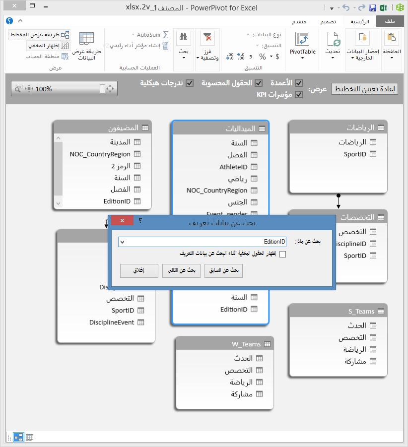 استخدام طريقة العرض الرسم التخطيطي في Power Pivot