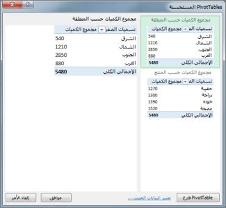 في PivotTables الموصى بها، اختيار تخطيط PivotTable في Excel