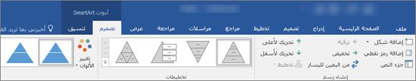 """علامات التبويب """"أدوات SmartArt"""" و """"تصميم"""" و """"تنسيق"""""""