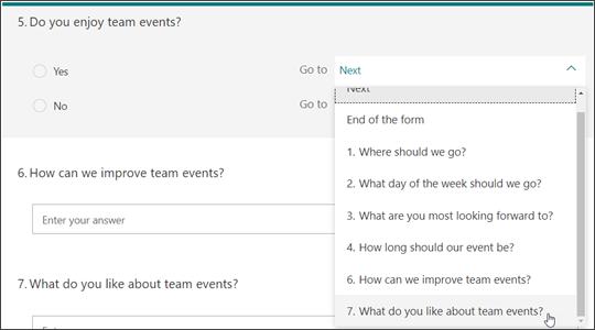 إجراء فروع لأسئلة أخرى استنادا إلى إجابة سؤال آخر
