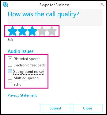 اختبار الصوت في Skype for Business client.