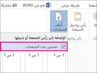 صورة لخانة الاختيار المطلوب تحديدها لتضمين عدد الصفحات مع أرقام الصفحات في مستند (الصفحة X من Y).