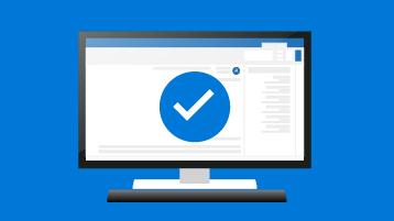 رمز علامة الاختيار مع جهاز كمبيوتر سطح مكتب يعرض إصداراً من Outlook
