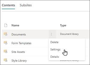 صورة لصفحة محتويات الموقع مع مرور المؤشر فوق الإعدادات في قائمة المستندات.
