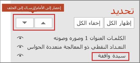 تعرض واجهه مستخدم PowerPoint العناصر الموجودة في جزء التحديد وإحضار الأزرار إلى الامام/الإرسال إلى الخلف.