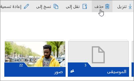 لقطة شاشة تعرض زر «حذف» على OneDrive.com.