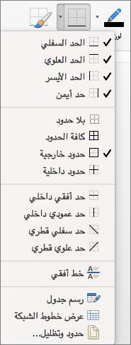 يتم إظهار خيارات الحدود لتصميم الجدول