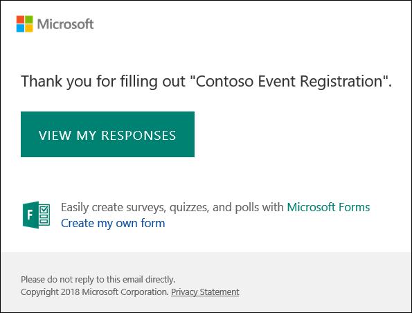 رسالة تاكيد البريد الكتروني والارتباط بالاستجابات في Microsoft Forms