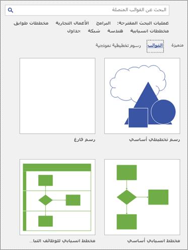 طريقة عرض صفحة القالب في Visio