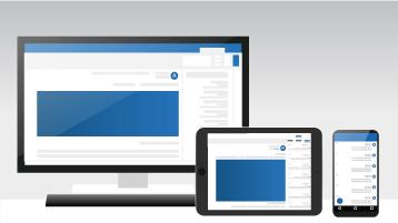 جهاز كمبيوتر وكمبيوتر لوحي وهاتف يعرضون Outlook