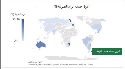 مخطط خريطة Excel يعرض القيم التي تحتوي علي البلدان حسب إيراد الضريبة%