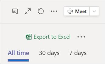 """تحديد """"تصدير إلى Excel"""""""