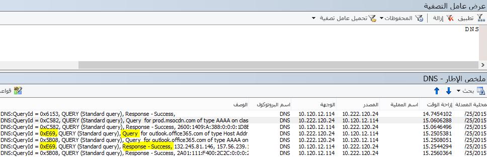 عامل التصفية الأساسي لـ DNS في Netmon هو DNS.