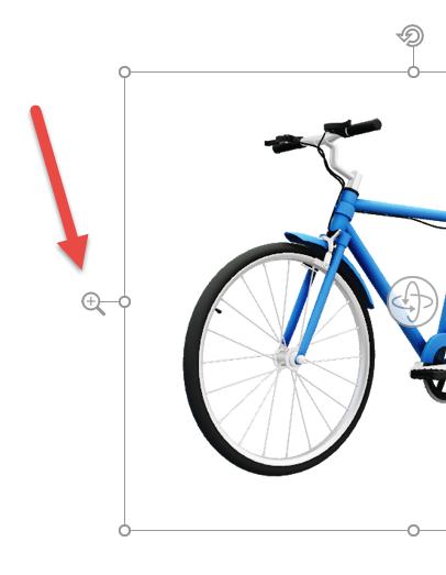 استخدم سهم التكبير/التصغير لتكبير الصورة ثلاثية الأبعاد أو تصغيرها ضمن الإطار
