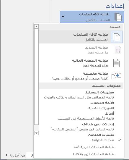 """لقطة شاشة لجزء """"طباعة"""" مع توسيع قائمة """"طباعة كل الصفحات"""" لعرض خيارات إضافية."""