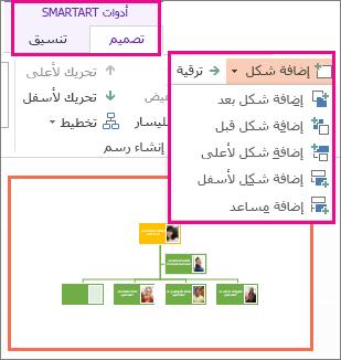 """خيارات """"إضافة أشكال"""" المتوفرة في """"أدوات SmartArt"""" ضمن علامة التبويب """"تصميم"""""""