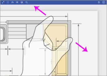 للتكبير، المس الرسم التخطيطي باستخدام إصبعين وباعد بينهما.