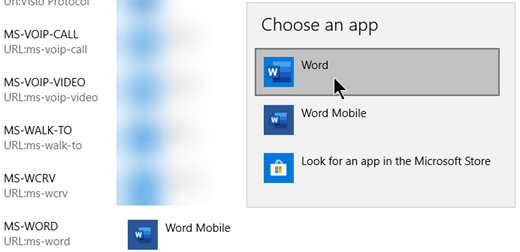 التبديل من Word Mobile إلى Word للبروتوكول الذي يفتح القوالب من الويب.