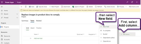 إضافة حقل جديد إلى مشروع مفتوح في Project Power App